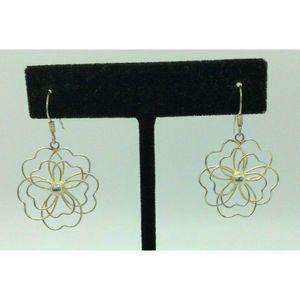 Marsala Silver Flower Drop Dangle Pierced Earrings